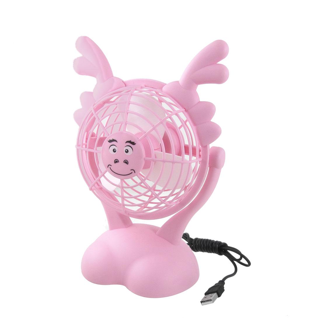 Pink Plastic White Foam Paddles Batteries USB Powered Button Fan