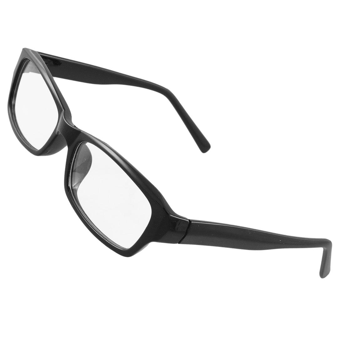 Woman Man Black Plastic Full Rim Frame Multi Coated Plain Glasses
