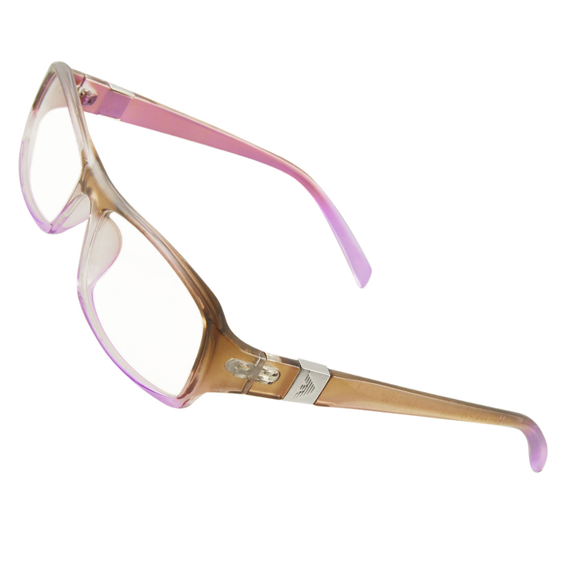 Women Light Purple Brown Plastic Full Frame Multi Coated Lens Plain Glasses