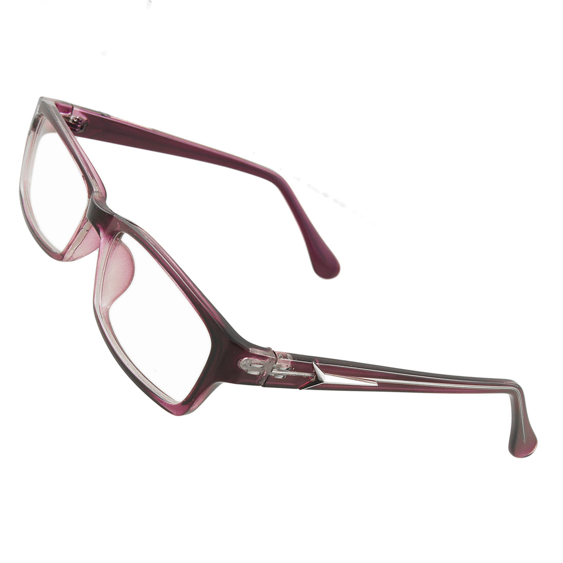 Women Purple Plastic Full Frame Multi Coated Lens Plain Glasses