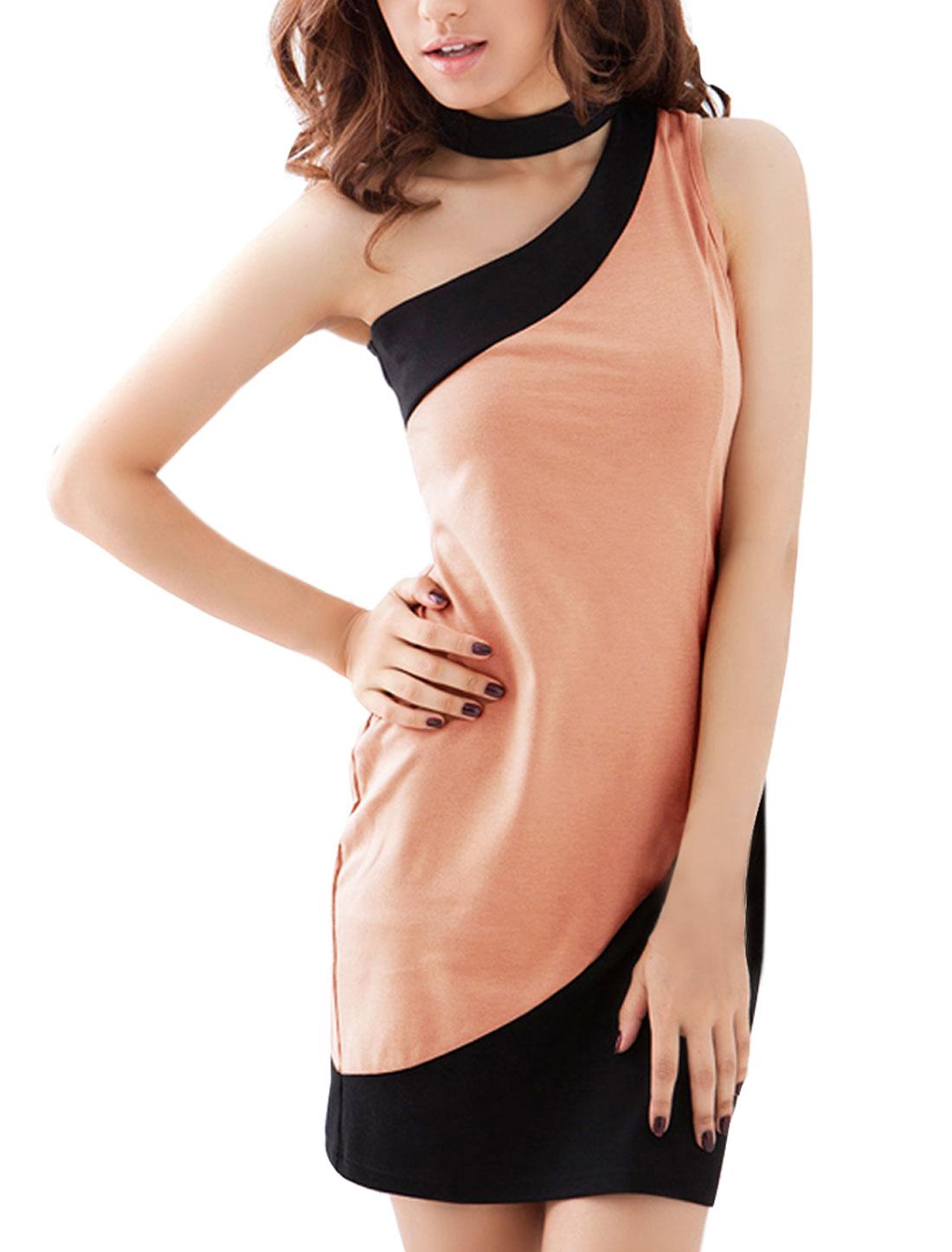 Women One Shoulder Contrast Color Mini Sheath Dress Pink XS