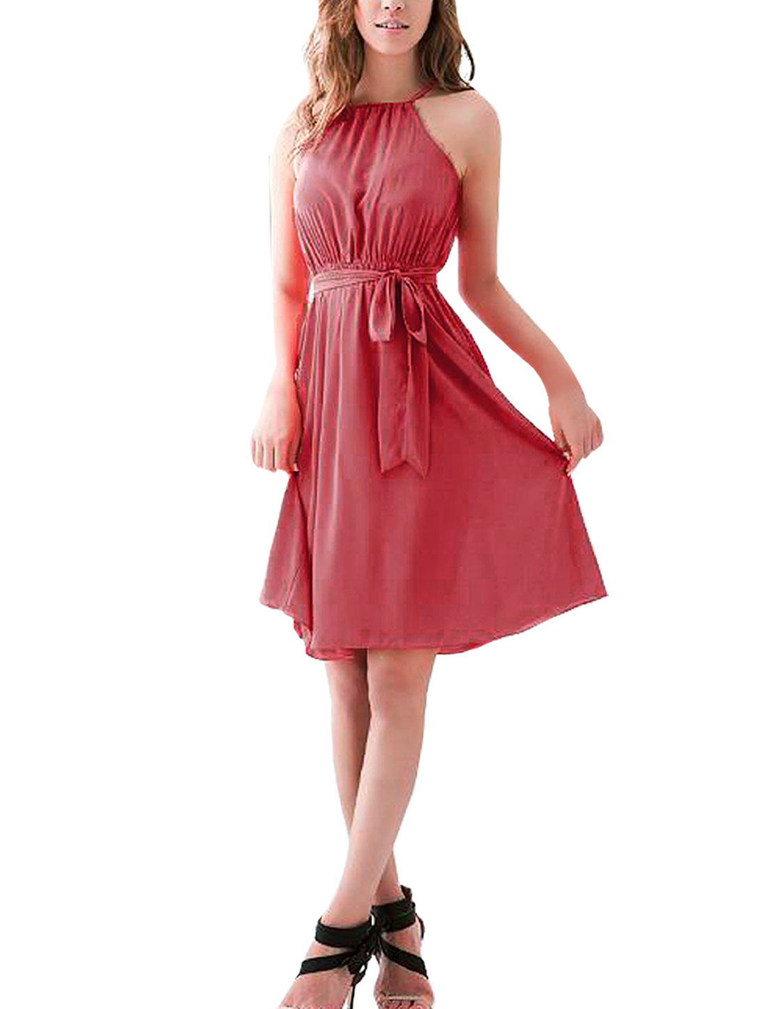 Self Tie Neck Sleeveless Watermelon Red Chiffon Dress XS for Women