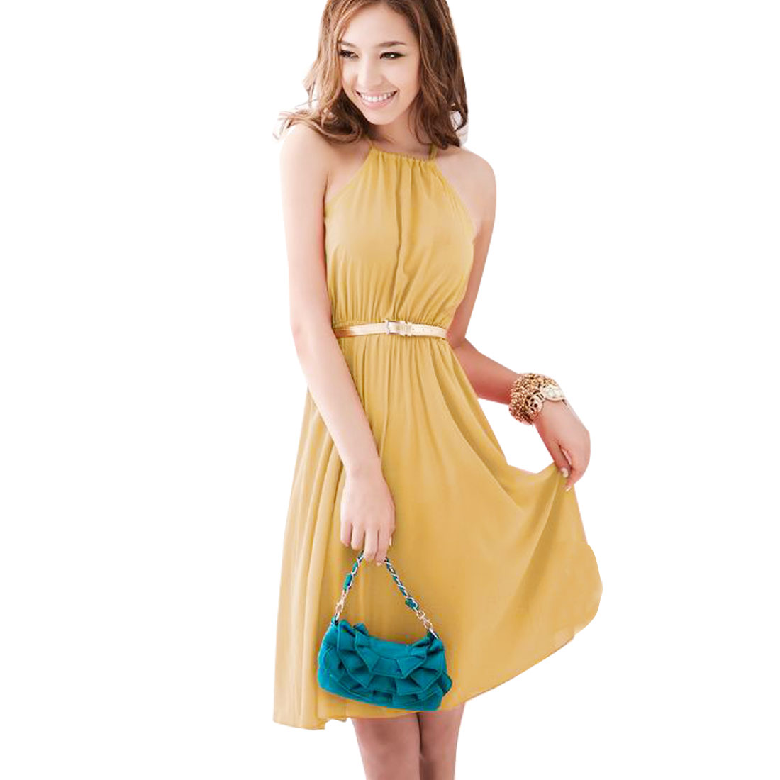 Women Self Tie Neck Sleeveless Semi Sheer Chiffon Mini Dress XS