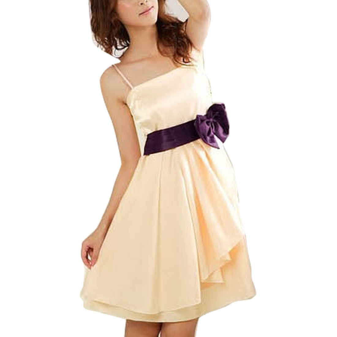 Women Bow Tie Decor Waist Irregular Hem Beige Pullover Dress XS
