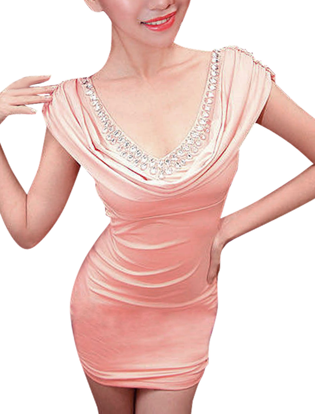 Ladies Pink Double V Neck Sleeveless Rhinestone DecorTop Mini Dress XS