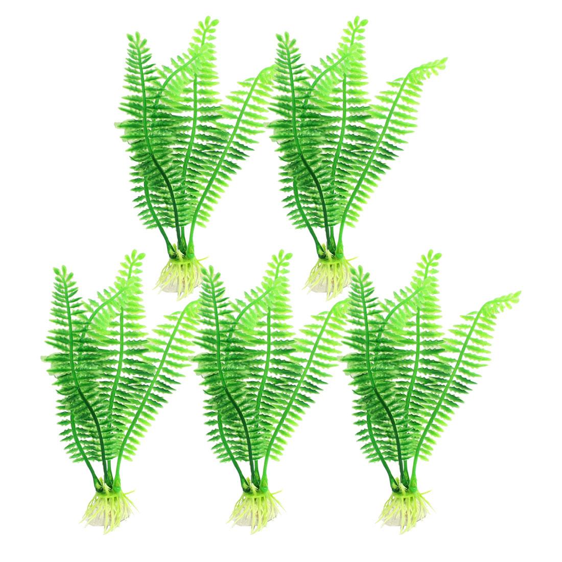"""5 Pcs 6.2"""" High Aquarium Fish Tank Decorative Green Plastic Plant"""