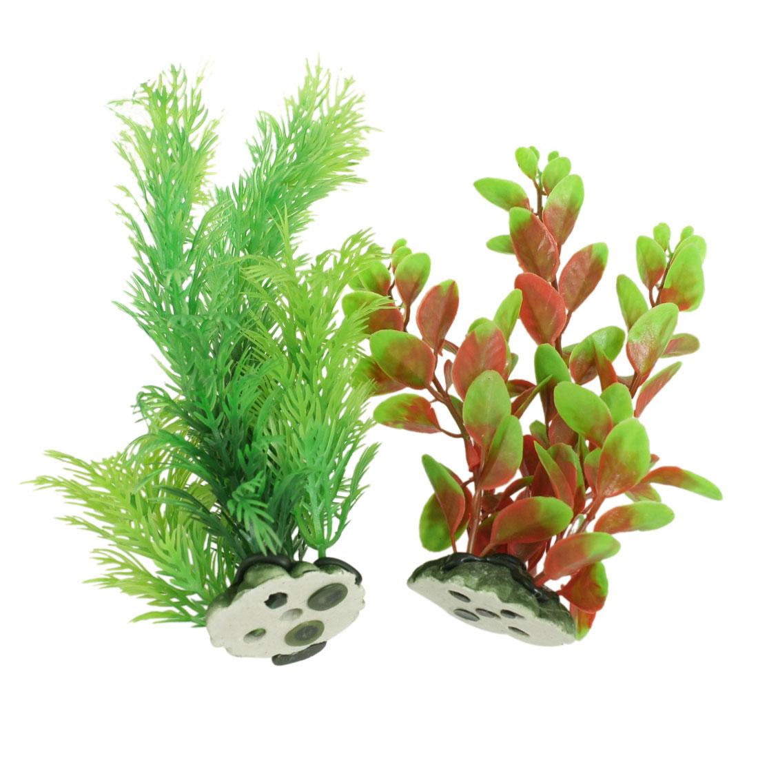 """2 Pcs 7.8"""" Aquarium Fish Tank Green Orange Plastic Plant Aquatic Water Grass Decor"""