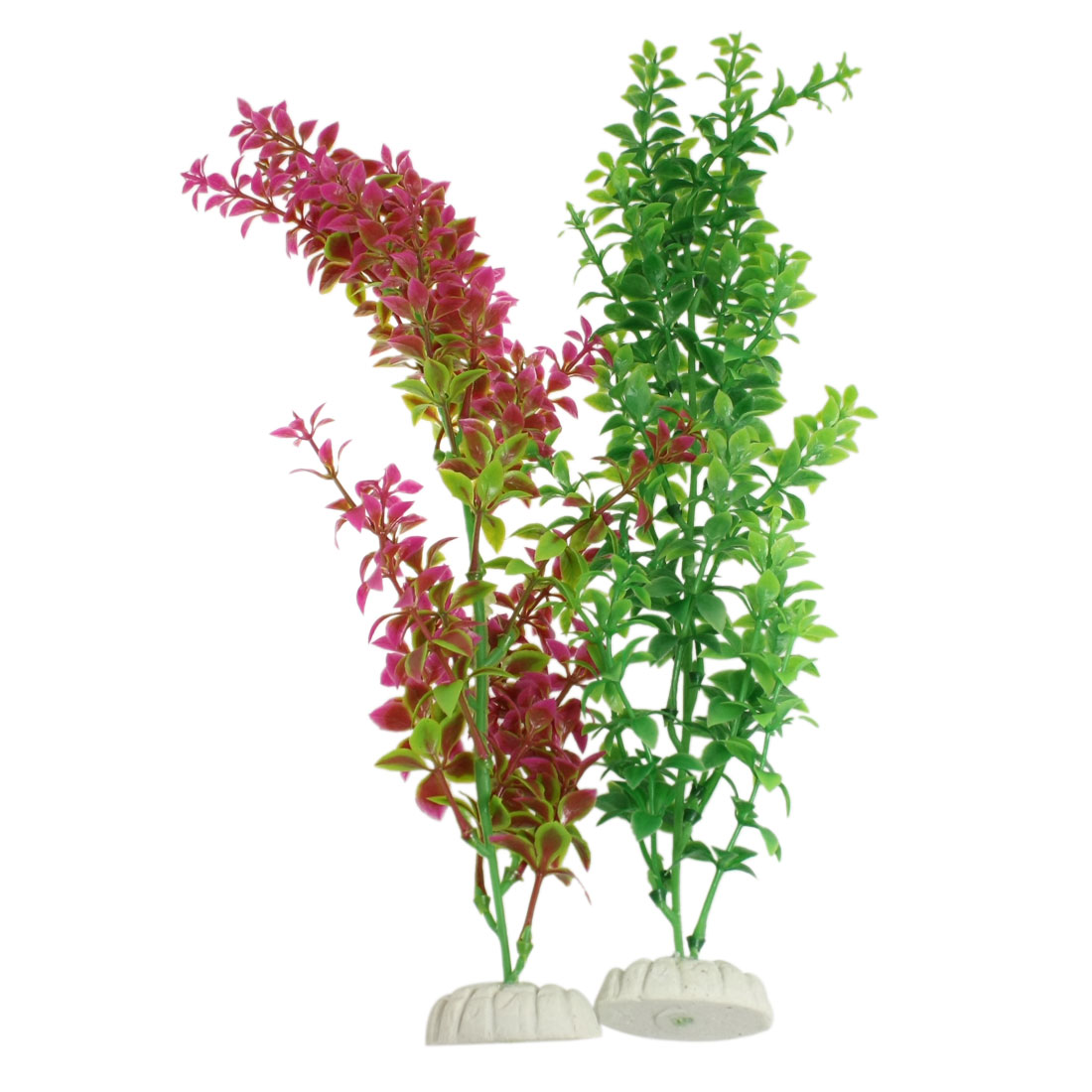 2 Pcs Magenta Green Plastic Aquatic Plants Decor for Aquarium