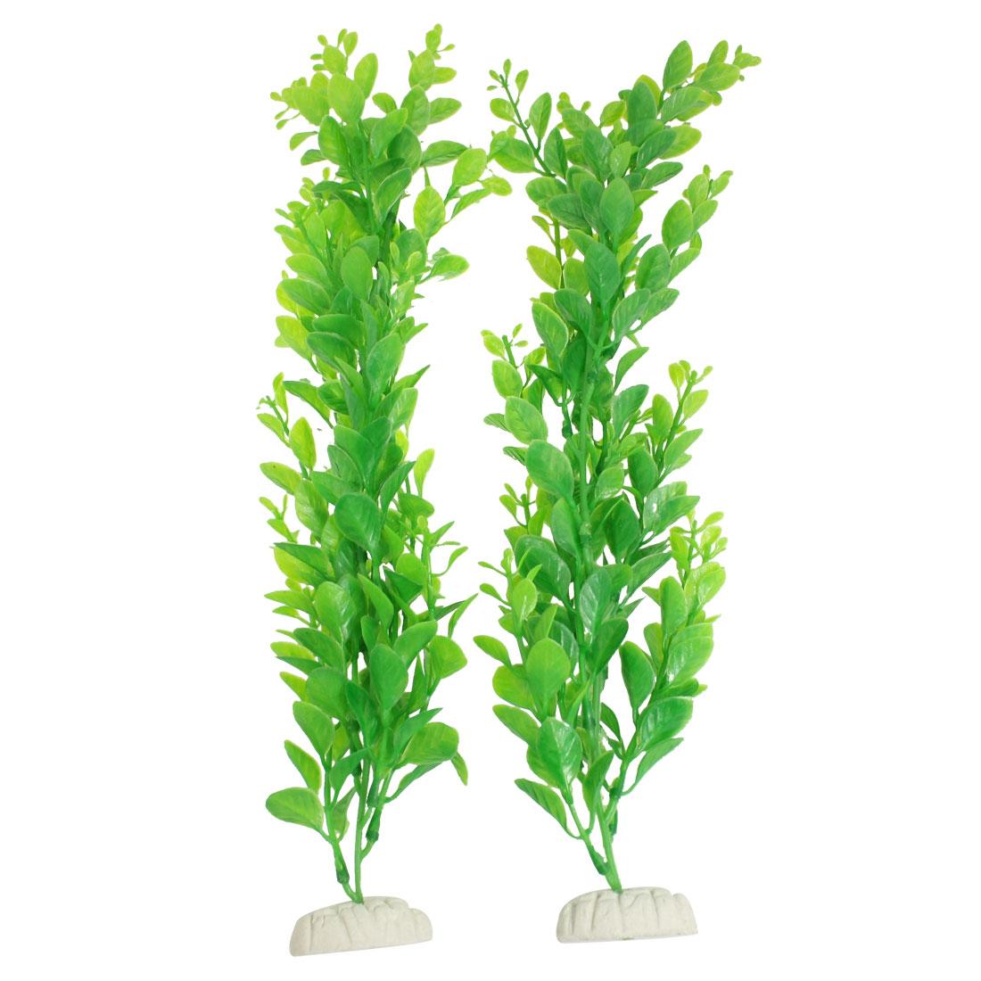 """2 Pcs Aquarium Fish Tank Decor Green Plastic Plant Grass 14.5"""" High"""