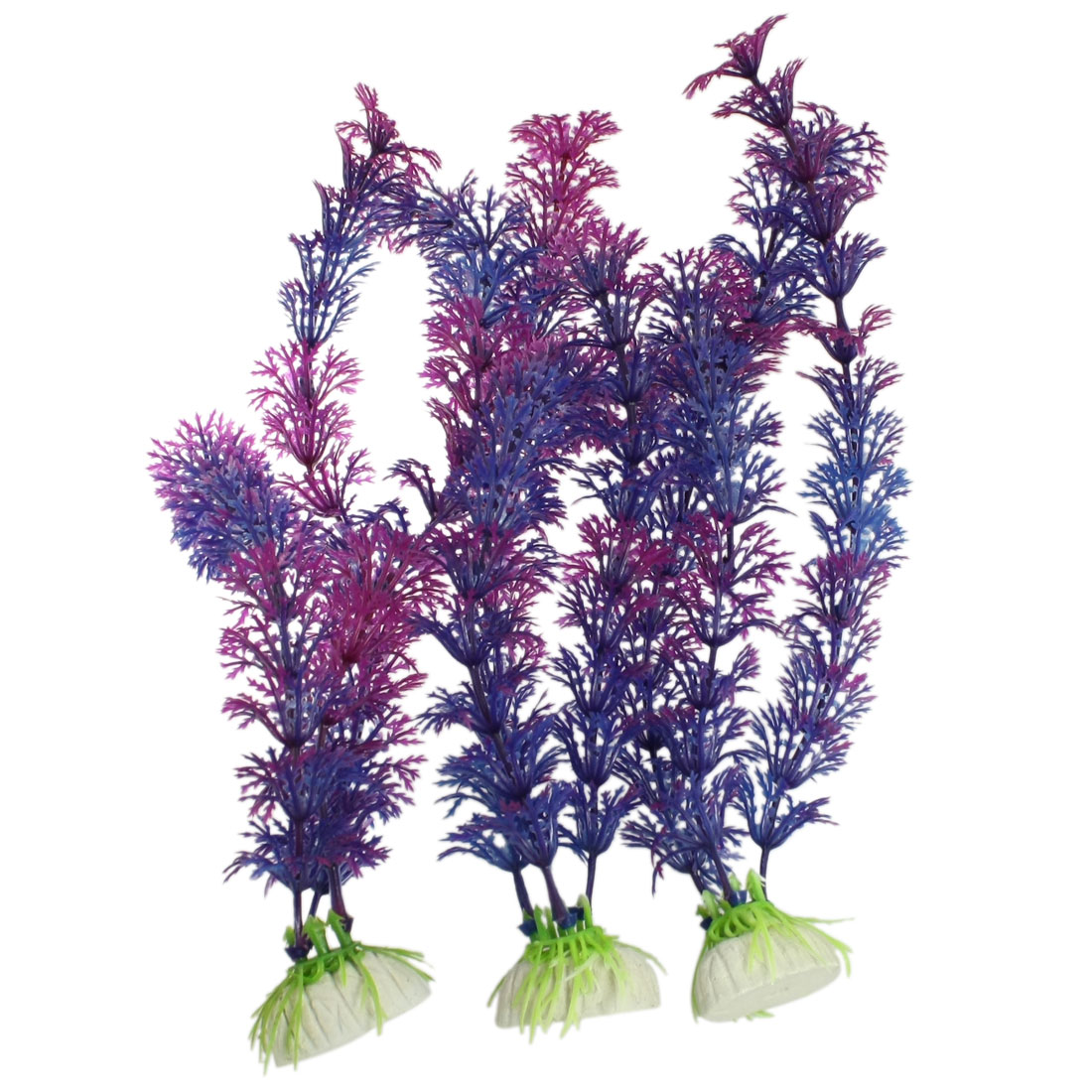 3 Pcs Purple Blue Plastic Aquascaping Plants for Fish Tank