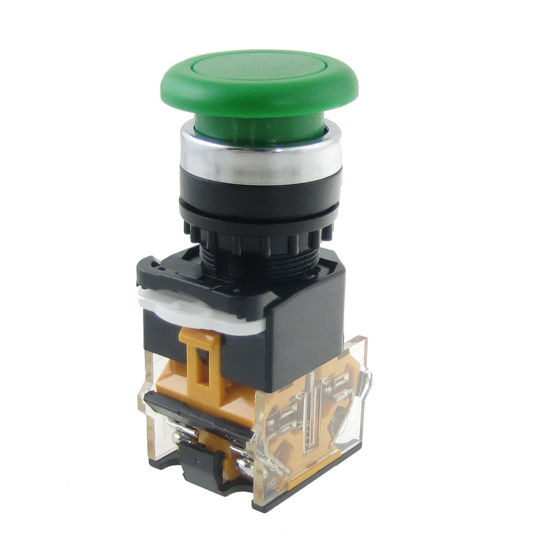 AC 380V 10A 35mm Green Sign Momentary Mushroom Push Button Switch 22mm 1 NO 1 NC