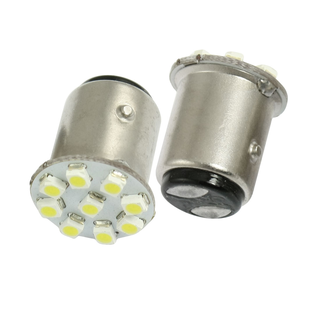 2 Pcs Car 1157 BAY15D Bayonet White 1210 SMD 9 LED Tail Brake Light Bulb Lamp