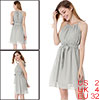 Women Light Gray Self Tie Neck Elastic Waist Chiffon Mini Dress XS