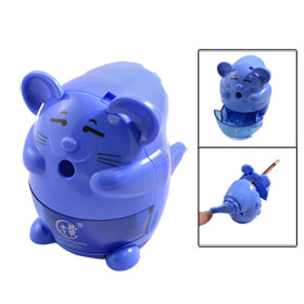 Blue Plastic Crank Manual Wave Handle Stationery Pencil Sharpener