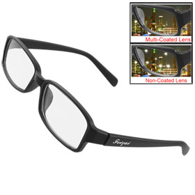 Unisex Rubberized Black Plastic Frame Multi Coated Lens Plain Glasses