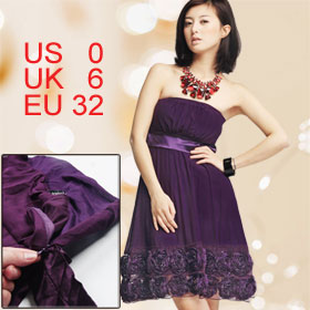 Women Dark Purple Strapless Flower Accent Chiffon Tube Dress XS