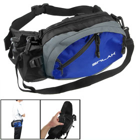 Light Blue Zip Up Quick Release Hook Multifuction Waist Bag Pack