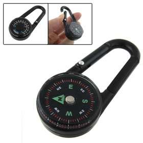 Carabiner Key Chain Compass Thermometer Hiking Camping Outdoor