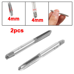 2 Pcs M4 4mm High Speed Steel HSS Hand Screw Thread Metric Plug Taps