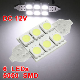 License Plate White 6 5050 LED Light Canbus Error Free Festoon Bulbs 36mm