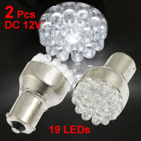 2 Pcs BA15S 1156 P21W 19 LED Bulb Tail Brake Car Interior Light 12V White