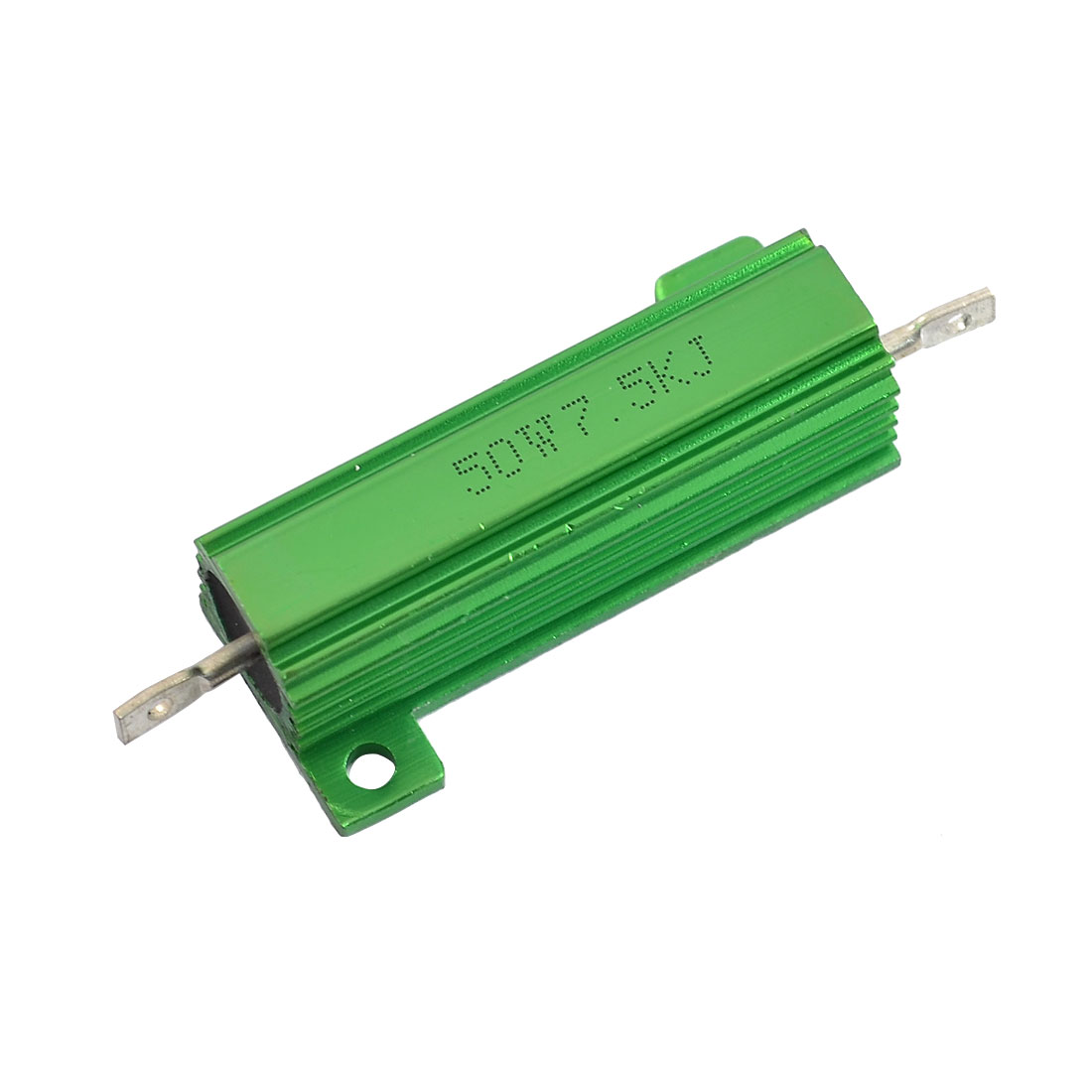 Chassis Mounted 50W 7.5K Ohm 5% Aluminum Shell Wirewound Resistor Green
