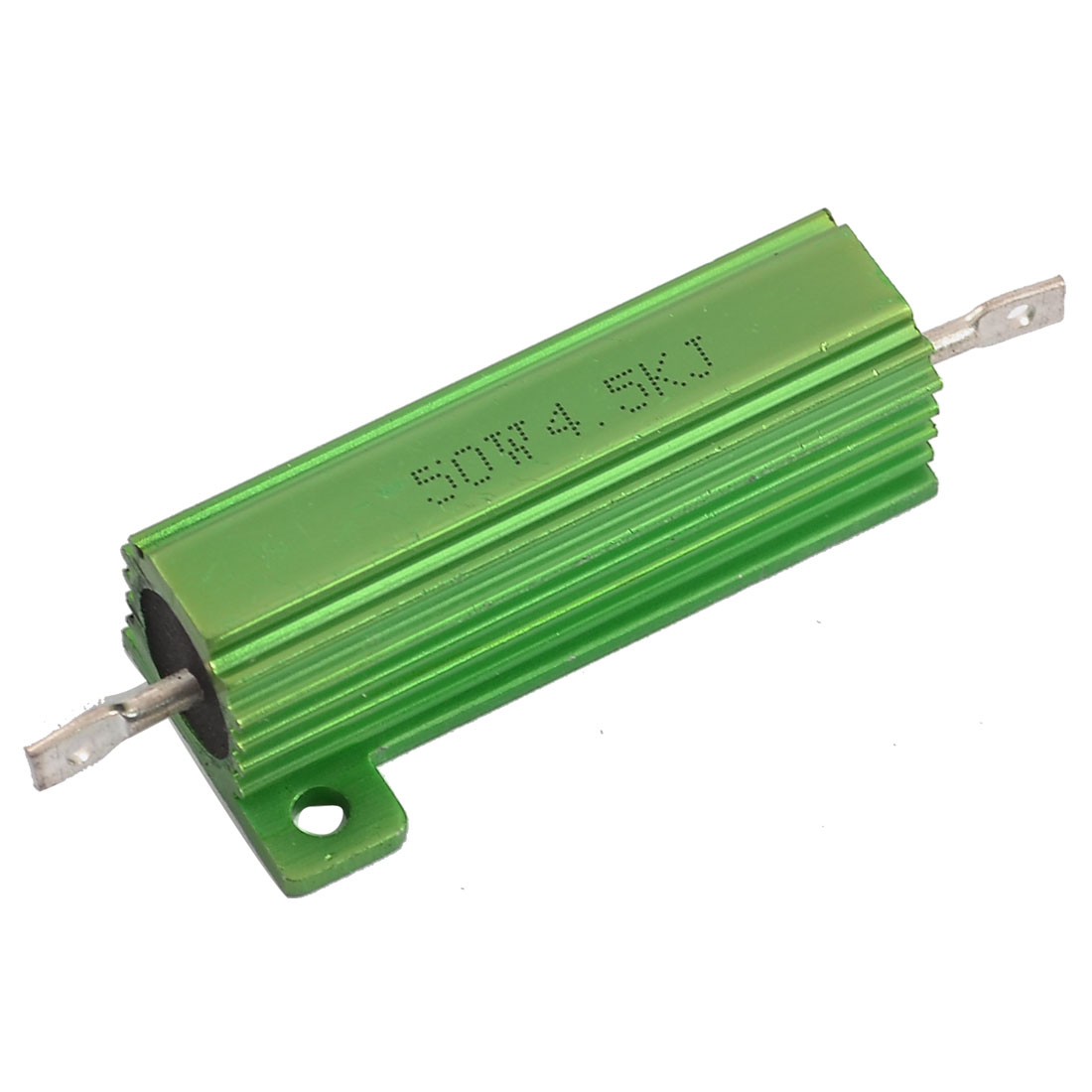 Chassis Mounted 50W 4.5K Ohm 5% Aluminum Case Wirewound Resistor Green