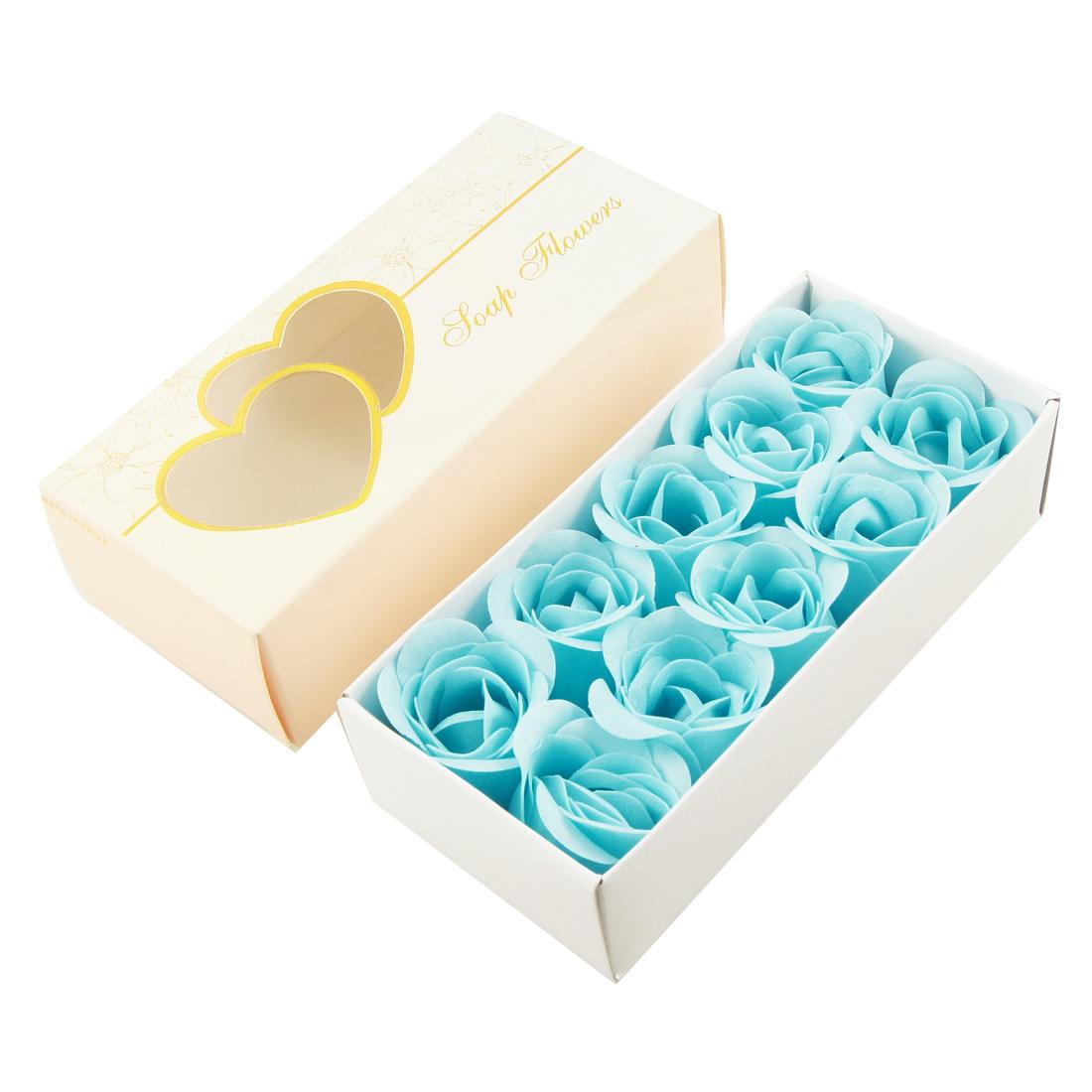 10 Pcs Blue Decorative Fragrant Rose Bud Flower Petal Soap Wedding Favor
