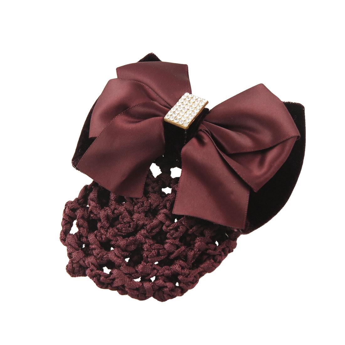 Banquet Faux Rhinestone Burgundy Velvet Bow Hair Clip Snood Net Bun Cover
