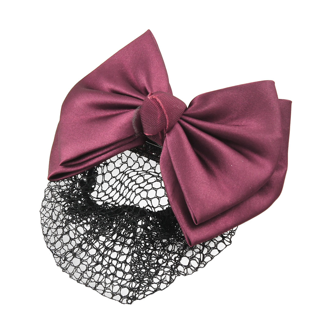 Women Nylon Bowknot Shaped 2 layer Barrette French Hair Clip Bun Cover Snood Net