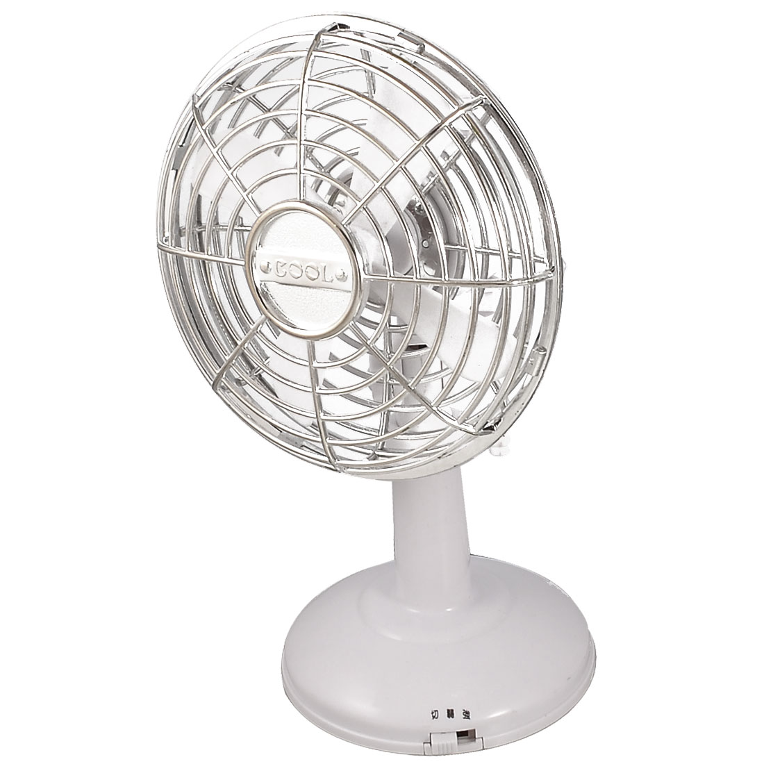White Silver Tone Plastic Batteries USB Powered Oscillating Fan