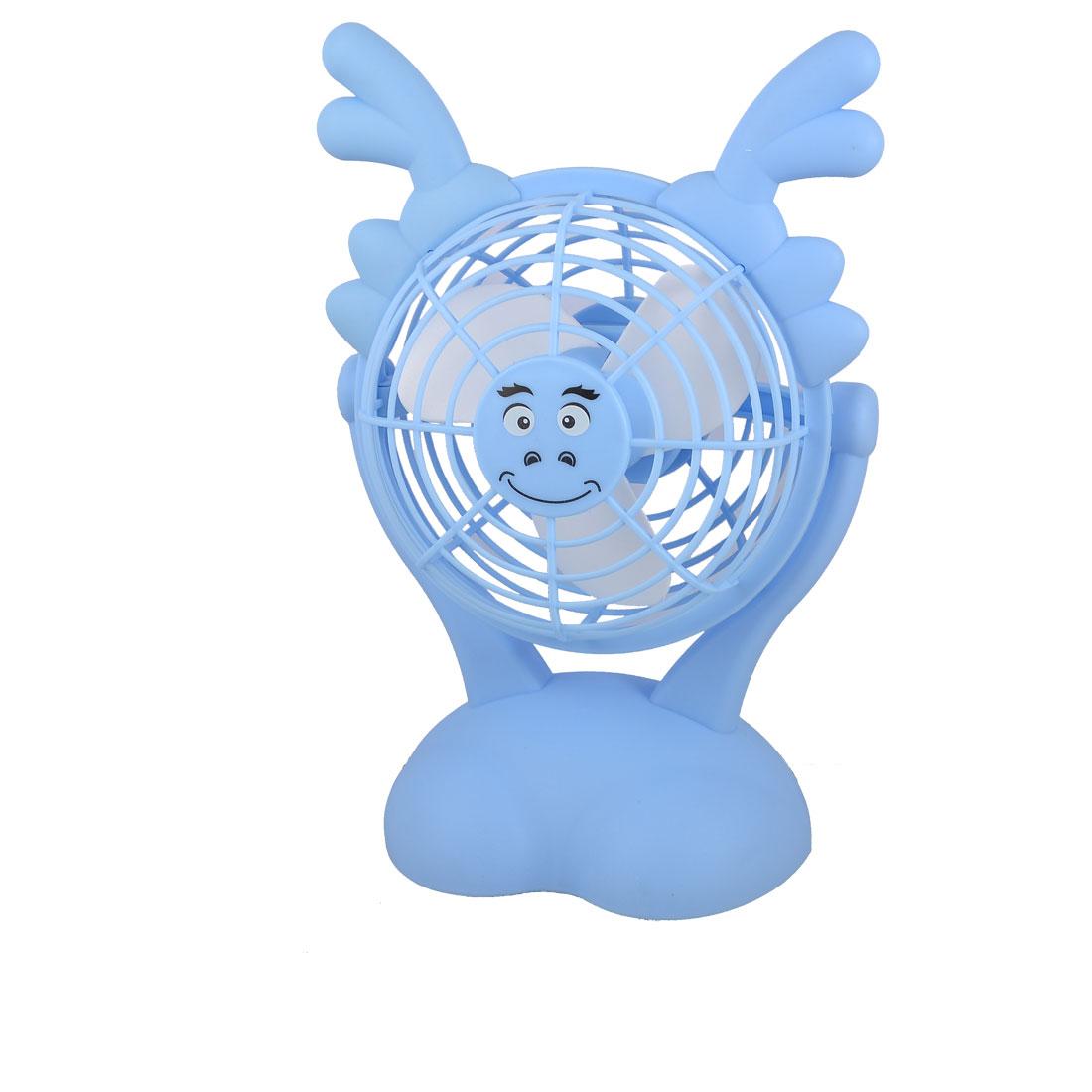 Blue Plastic White Foam Paddle Batteries USB Powered Button Fan