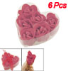 6 Pcs Bathing Red Rose Bud Flower Petal Soap Wedding Favor + Heart Shape Box