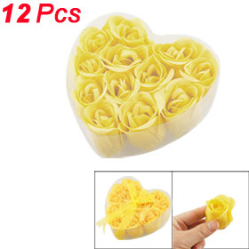 12 Pcs Bathing Fragrant Yellow Rose Bud Flower Petal Soap + Heart Shape Box