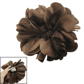 Evening Coffee Color Layered Petals Flower Corsage Hair Clip Brooch Pin