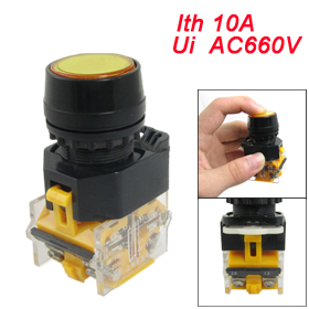 "Yellow Sign Momentary Push Button Switch 22mm 7/8"" 1 NO N/O 1 NC N/C 10A 660V AC"