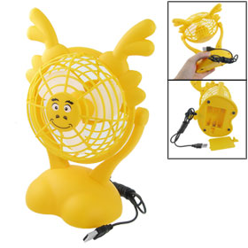USB Batteries Powered Dragon Head Design Foam Blades Fan Yellow