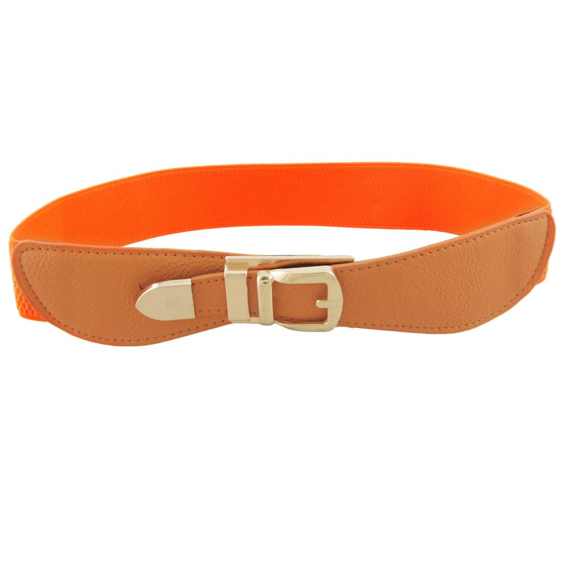 "Lady Brown Faux Leather Orange Elastic 1.5"" Wide Cinch Belt"