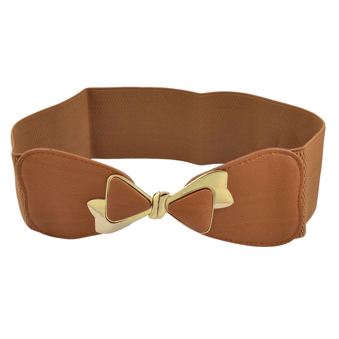 Woman Gold Tone Bowknot Buckle Brown Elastic Cinch Belt