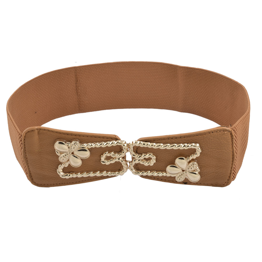 Women Gold Tone Flower Rope Buckle Elastic Cinch Belt Brown