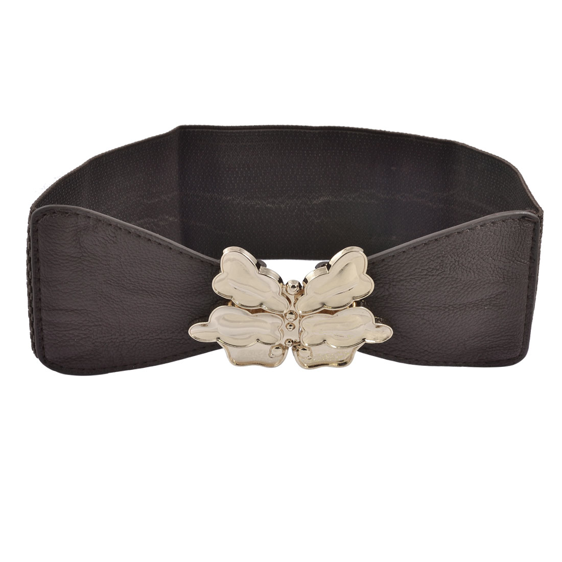 Metal Butterfly Buckle Dark Brown Stretchy High Waist Belt for Lady