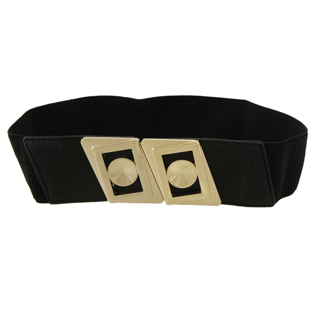 Metal Double Parallelogram Buckle Black Elastic Cinch Belt for Lady