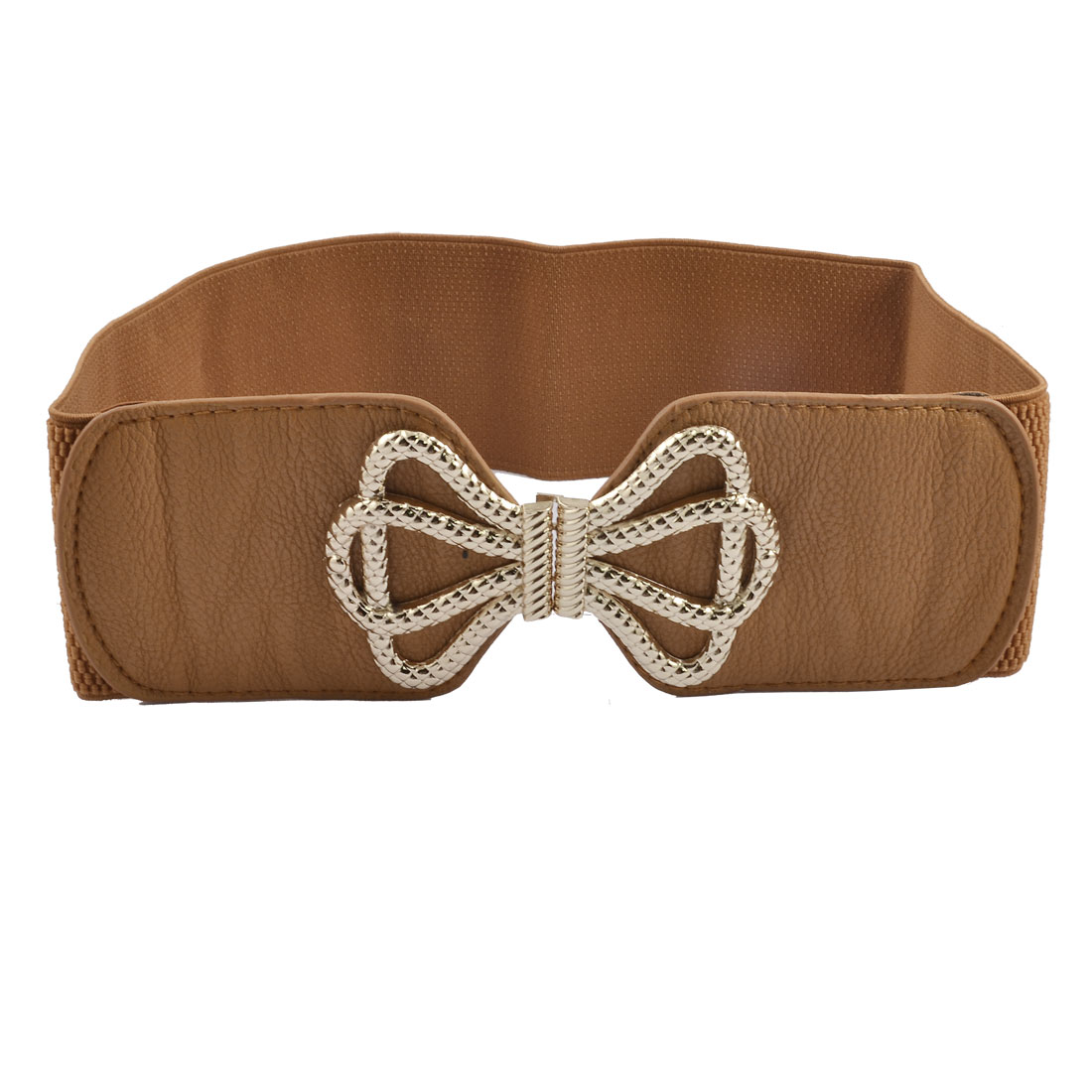 Woman Bowknot Buckle Brown 7.5cm Wide Elastic Cinch Belt