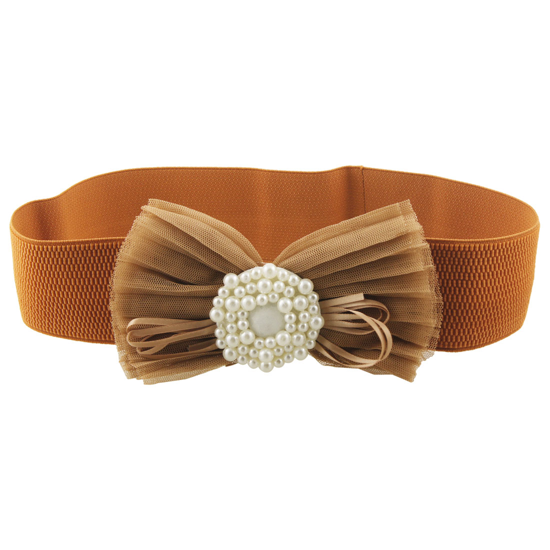 Ladies White Beads Decor Brown 6cm Wide Elastic Cinch Belt