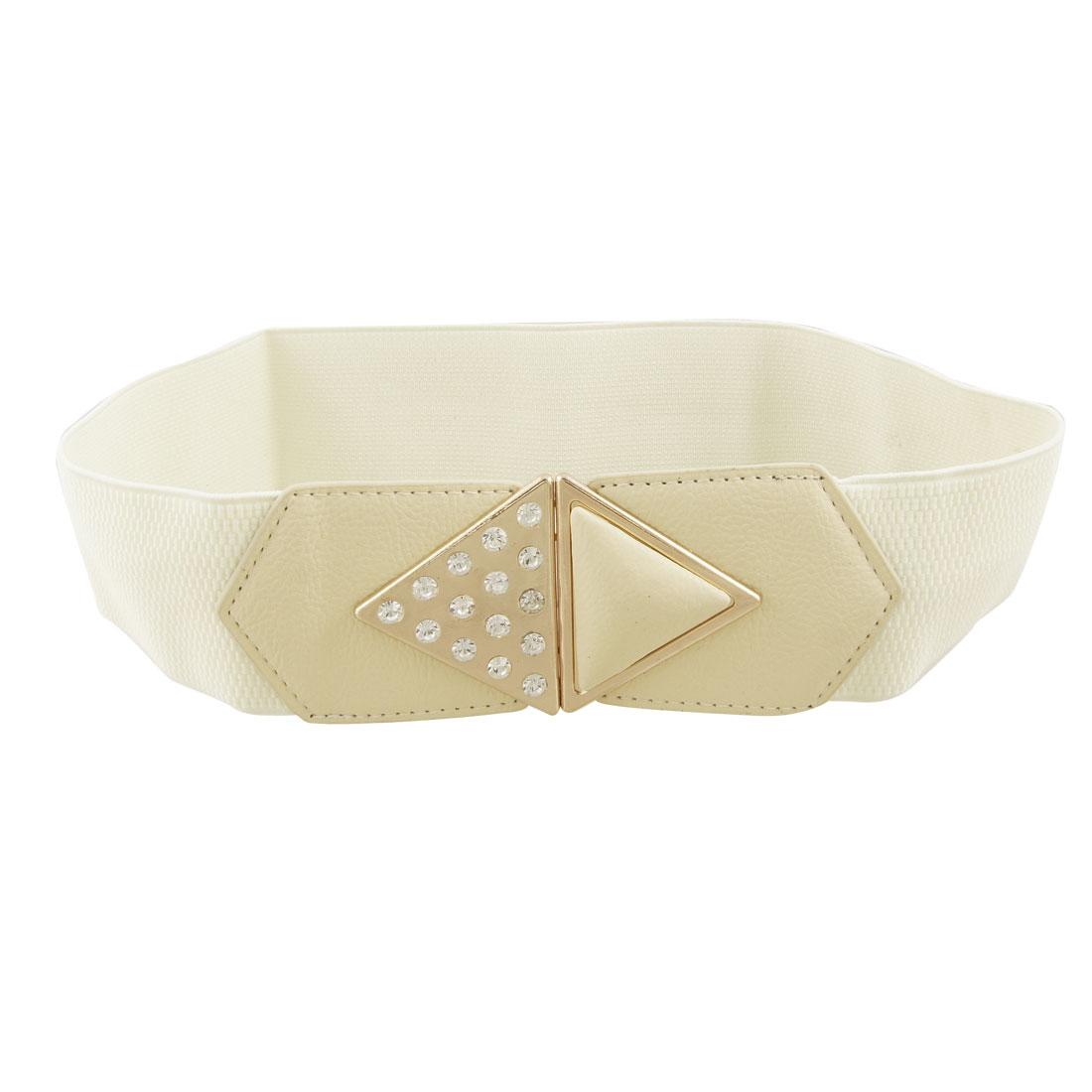 Woman Rhinestone Inlaid Gold Tone Buckle Beige Elastic Cinch Belt
