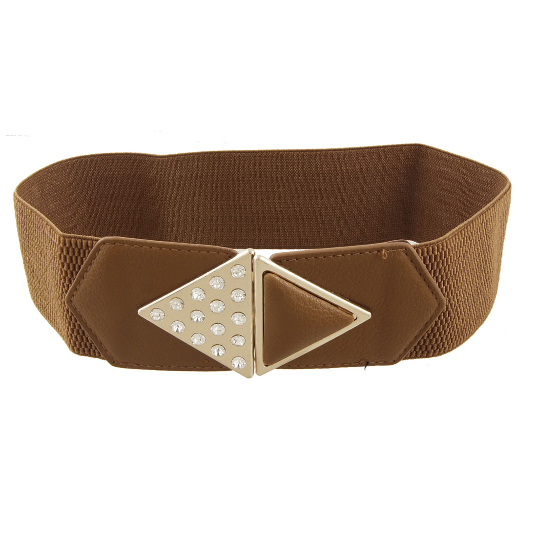 Rhinestone Decor Rhombus Buckle Brown Elastic Cinch Belt for Lady