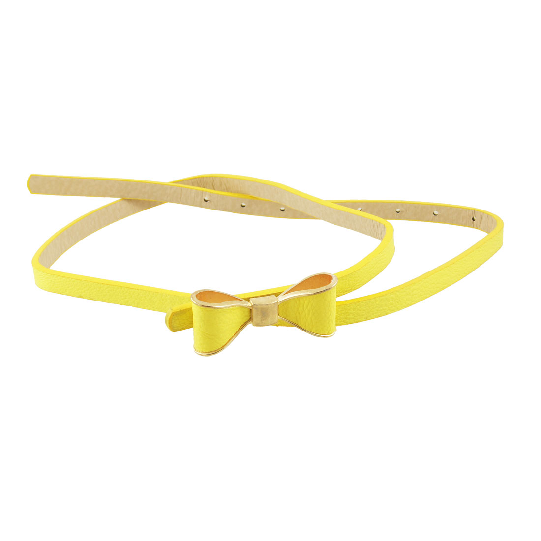 Woman Bowknot Slide Buckle Yellow Slim Faux Leather Band Belt