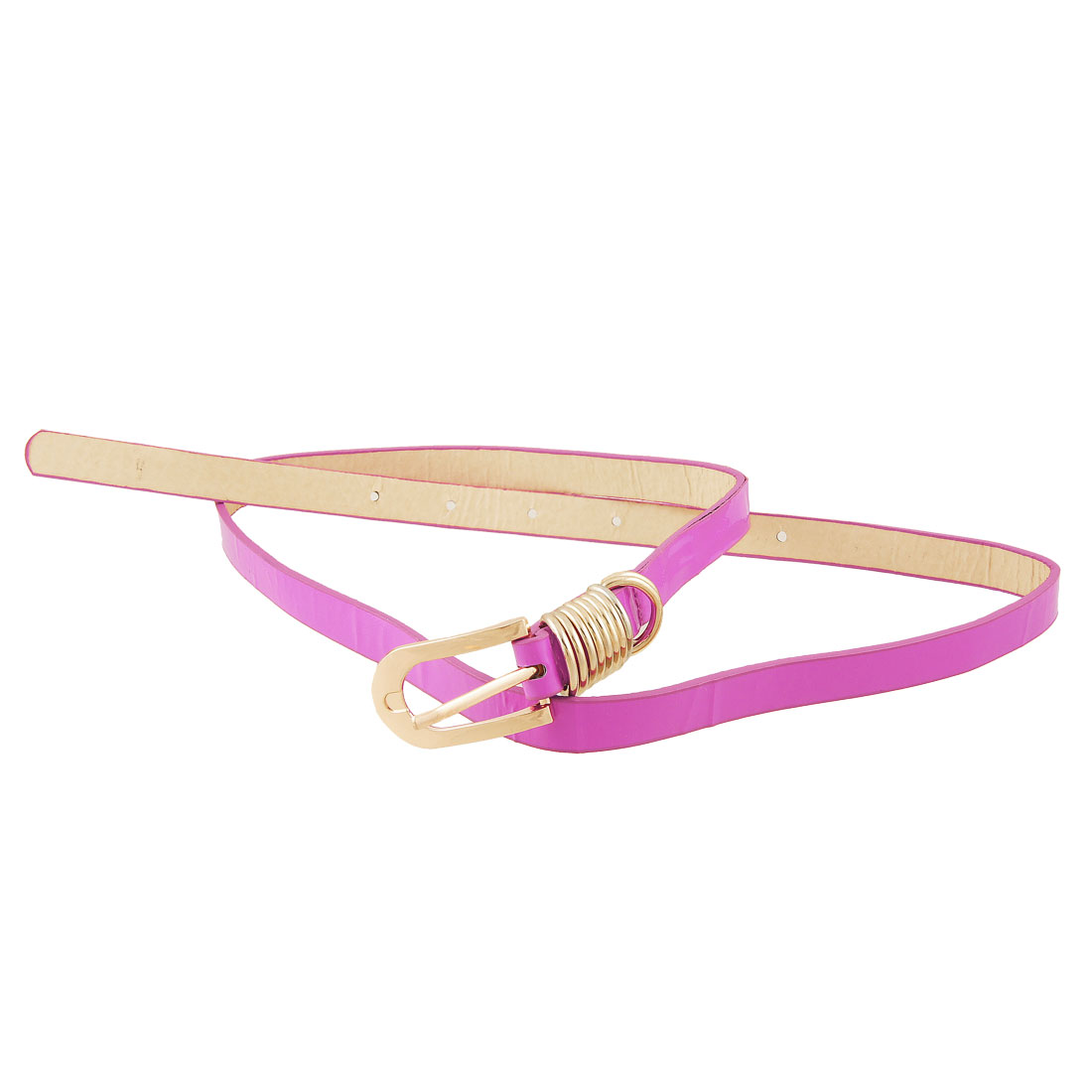 Gold Tone Metal Buckle Fuchsia Adjustable Slim Belt for Ladies