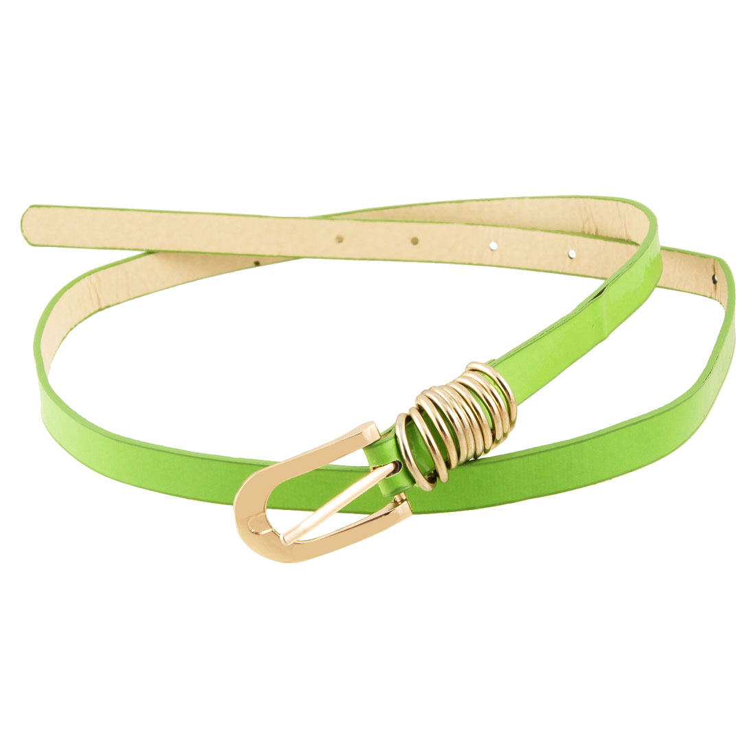 Woman Gold Tone Single Pin Buckle Green Faux Leather Slim Band Belt
