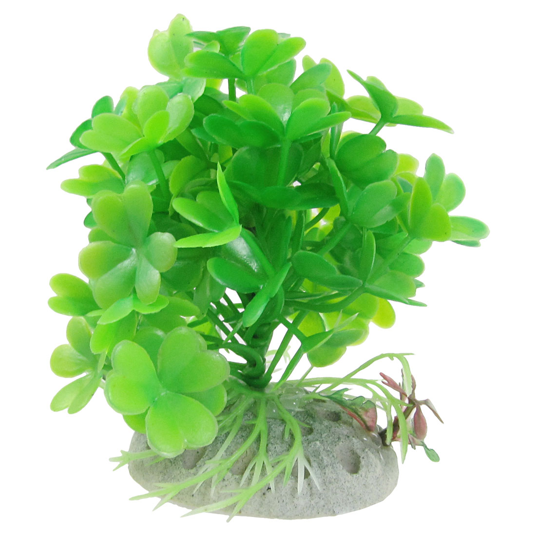 "Oval Ceramic Base Green Plastic Water Plant 3.5"" High for Fish Tank"